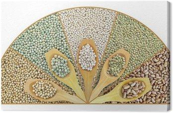 Obraz na Płótnie Kolaż suszonych soczewica, groch, soja, fasola z łyżką