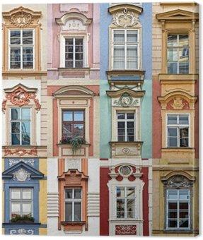 Obraz na Płótnie Kolaż z kolorowych okien Pradze, Republika Czeska