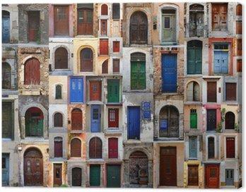 Obraz na Płótnie Kolekcja wyblakły drzwi w starym mieście Chania, C
