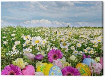 Obraz na Płótnie Kolorowa łąka Wielkanoc z kwiatów i jaja wielkanocne