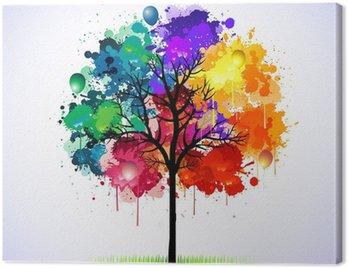 Obraz na Płótnie Kolorowe abstrakcyjne drzewa w tle