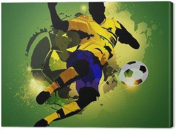 Obraz na Płótnie Kolorowe piłki nożnej fotografowania graczem