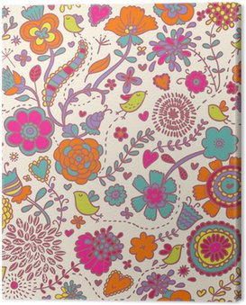 Obraz na Płótnie Kolorowe powtarzalne deseń - ptaki w kwiatach