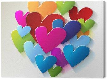 Obraz na Płótnie Kolorowe serca Farbigen Herzen