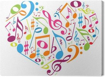 Obraz na Płótnie Kolorowe serca z nut - miłość do muzyki