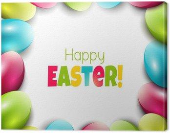 Obraz na Płótnie Kolorowe tło Wielkanoc z jaj i miejsce na tekst