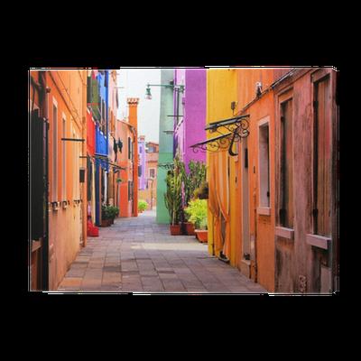 Obraz na Płótnie Kolorowe ulica w Burano koło Wenecji, Włochy