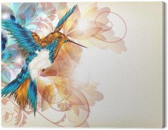 Obraz na Płótnie Kolorowe wektora projektu z realistyczną O kolibry i kwiatów