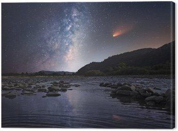 Obraz na Płótnie Kometa nad rzeką w nocy