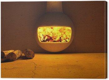 Obraz na Płótnie Kominek i kłody drewna