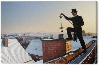 Obraz na Płótnie Kominiarz kapeluszu Stovepipe na dachu