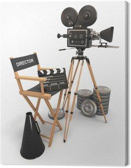 Obraz na Płótnie Kompozycja filmu. Vintage kamery, krzesło reżysera i kołowrotki.
