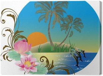 Obraz na Płótnie Kompozycja z delfinami i palmami