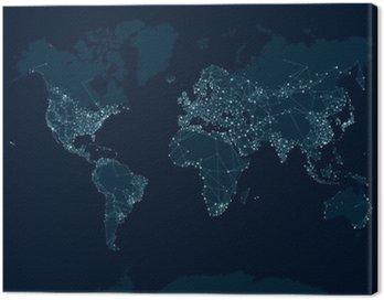Obraz na Płótnie Komunikacja sieciowa mapa świata