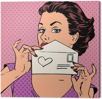 Obraz na Płótnie Komunikat Kobieta list miłosny Walentynki ślubu pop art retro