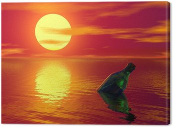 Obraz na Płótnie Komunikat w zielonej butelce unoszące się na oceanie