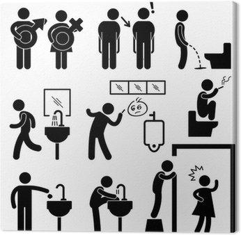 Obraz na Płótnie Koncepcja śmieszna toaleta publiczna Symbol, znak, ikona piktogram