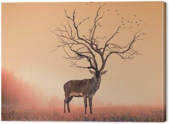 Obraz na Płótnie Koncepcyjne jelenia Jeleń, suche drzewo w jelenia