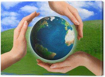 Obraz na Płótnie Koncepcyjne recyklingu symbolu Globe ziemi