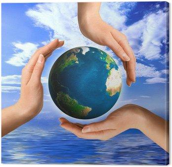 Obraz na Płótnie Koncepcyjne symbol recyklingu z globe Środowiska koncepcji Ziemi