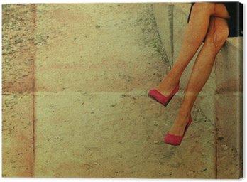 Obraz na Płótnie Koncepcyjne zdjęcie różowy kobieta pracująca