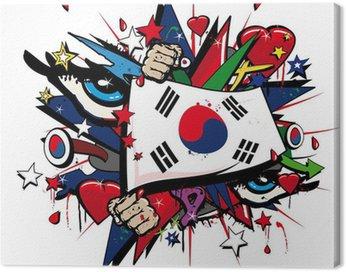 Obraz na Płótnie Korea Południowa graffiti, koreański pop sztuki ilustracji