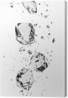 Obraz na Płótnie Kostki lodu z bąbelkami, samodzielnie na białym tle