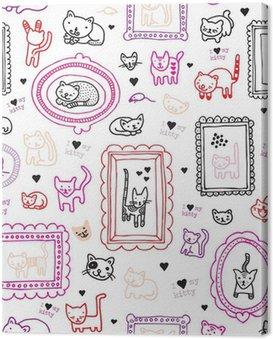 Obraz na Płótnie Kot kotek ornament powtarzalne tle wzór dzieci w wektorze