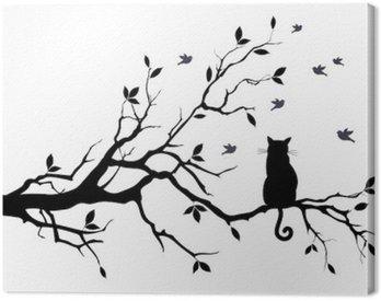 Obraz na Płótnie Kot na drzewie z ptakami, wektor