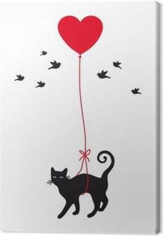 Obraz na Płótnie Kot z balonu serca, wektor