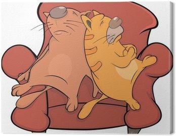 Obraz na Płótnie Koty na kanapie. Rysunek