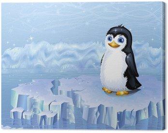 Obraz na Płótnie Krajobraz Arktyki i pingwin siedzi na krze