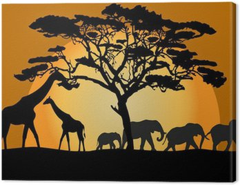 Obraz na Płótnie Krajobraz Savannah ze zwierzętami