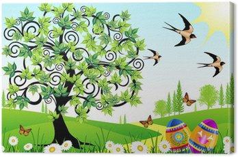 Obraz na Płótnie Krajobraz wiosna z jaj jaskółki i motyle