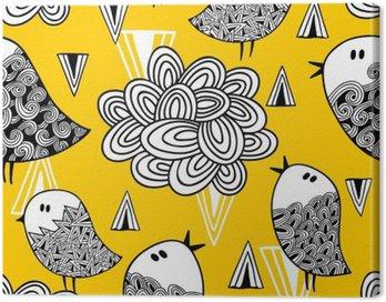 Obraz na Płótnie Kreacja doodle szwu z ptaków i elementów konstrukcyjnych.