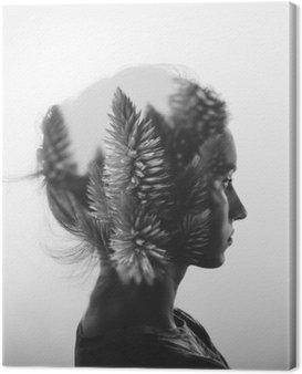 Obraz na Płótnie Kreacja podwójna ekspozycja z Portret młodej dziewczyny i kwiaty, monochromatyczny