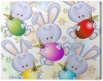 Obraz na Płótnie Króliczki wielkanocne dla dzieci-Cute Deseń Easter Bunny