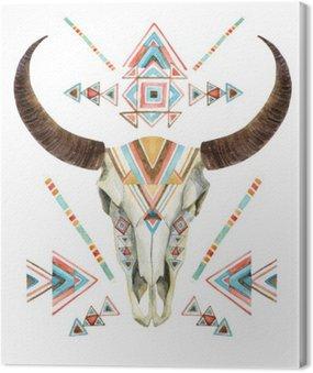Obraz na Płótnie Krowa czaszki w plemiennej stylu. czaszki zwierząt z ornamentem etnicznej