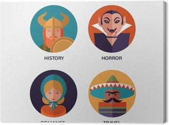 Obraz na Płótnie Księgarnia, płaskie przedmioty i postaci ikony