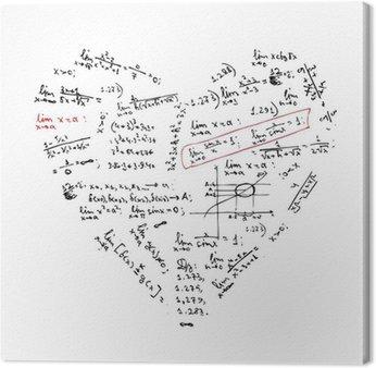 Obraz na Płótnie Kształt serca z formuł matematycznych do projektowania