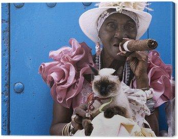 Obraz na Płótnie Kubańskie cygaro dama