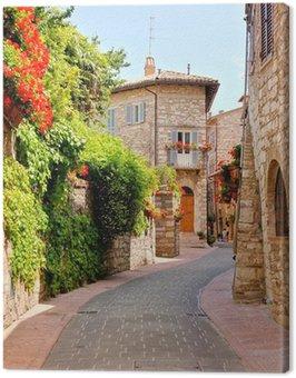 Obraz na Płótnie Kwiat pokryte ulicy w mieście Asyż, Włochy
