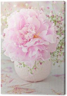 Obraz na Płótnie Kwiatowa kompozycja z kwiatów piwonii na jasnym tle