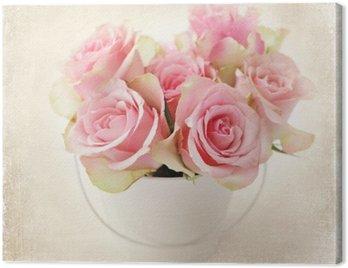 Obraz na Płótnie Kwiaty. różowe róże w wazonie