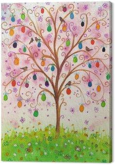 Obraz na Płótnie Kwitnące drzewo Wielkanoc z jaj i ptaków rosnących na polu.