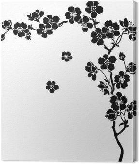 Obraz na Płótnie Kwitnących wiśni sakura oddział w tuszu