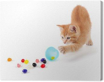 Ładny pomarańczowy kotek rozlewając żelki z jajka wielkanocne