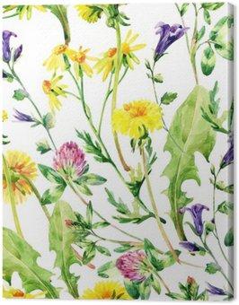 Obraz na Płótnie Łąka akwarela dzikie kwiaty szwu