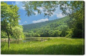 Obraz na Płótnie Latem krajobraz z rzeki i niebieskiego nieba