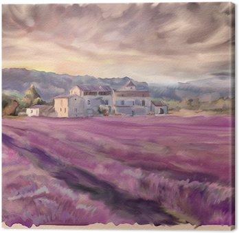 Obraz na Płótnie Lawendowe pole w Prowansji. akwarela